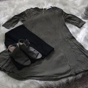 Olive 3/4 sleeve dress or long tunic
